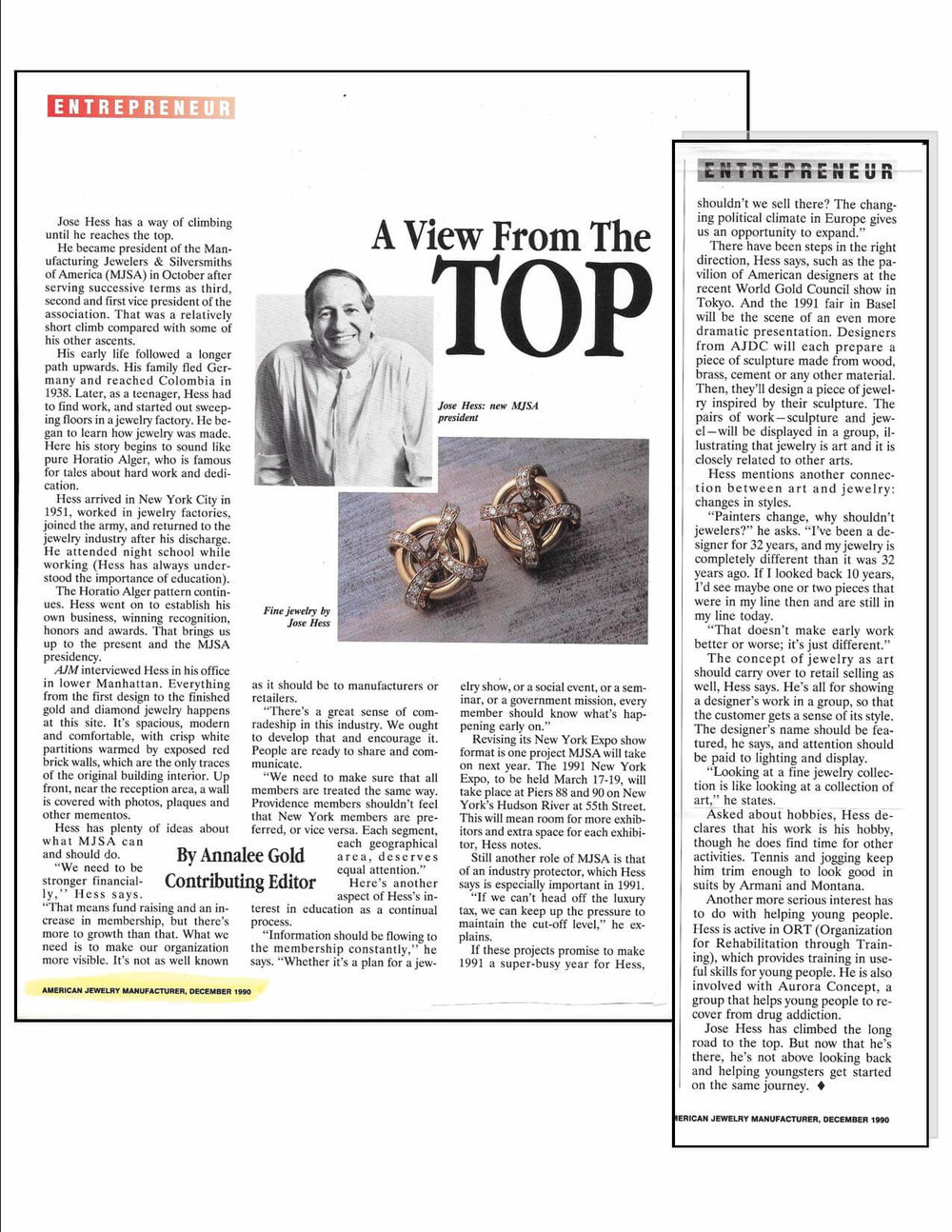 Jose Hess  American Jewelry Manuf December 1990 Article.jpg