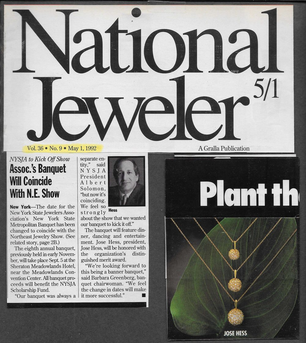 Jose Hess NY States Jewelers Associaton honors JH May 1992.jpg
