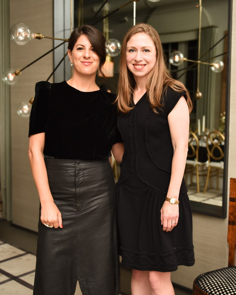 Jessica Kamel and Chelsea Clinton at Apparatus' New York showroom. Photo: Griffin Lipson