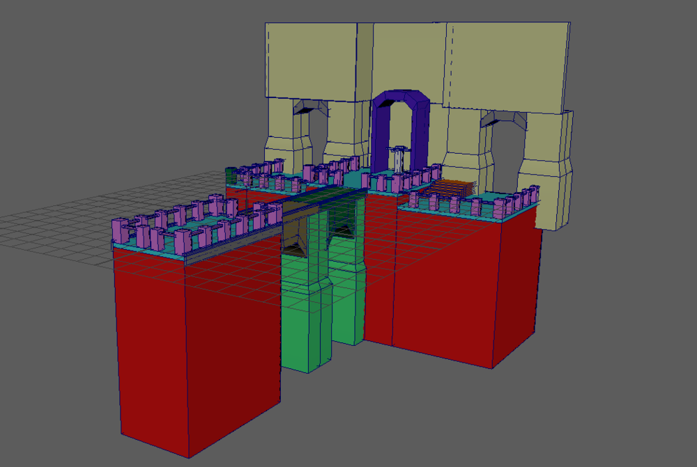 I used the human IK skeleton block out (the white mesh under the blue door) as size reference to my environment.