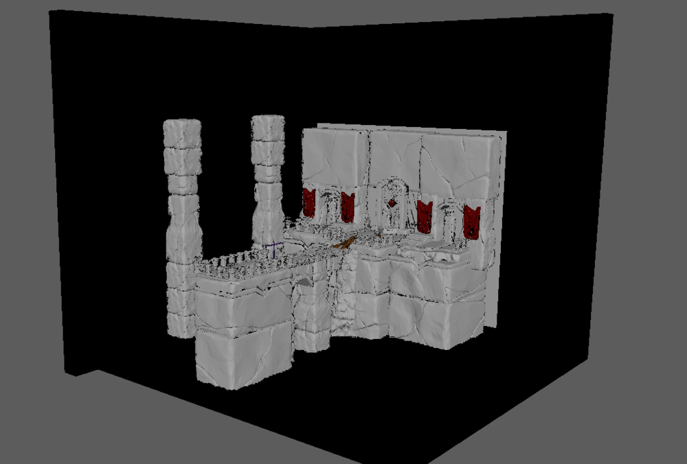 Each modular asset is then detailed separately and assembled in Maya