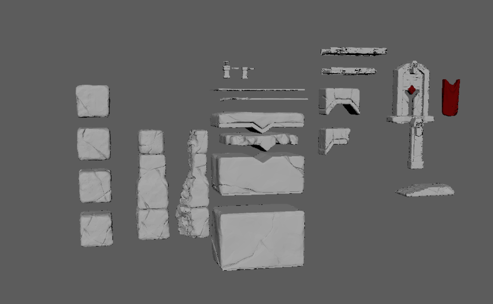 These are all the assets I made for the scene with re-usability and variation taken into consideration. For example, the rocks are square and have different cracks on all four sides, allowing me to easily make more variation in the scene. Same with broken pillars and bridges.