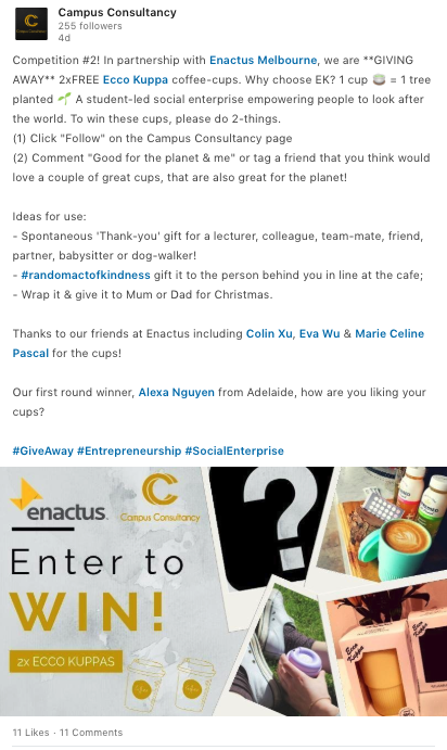 "Example of ""Giveaway Content"" posted on the Campus Consultancy page."
