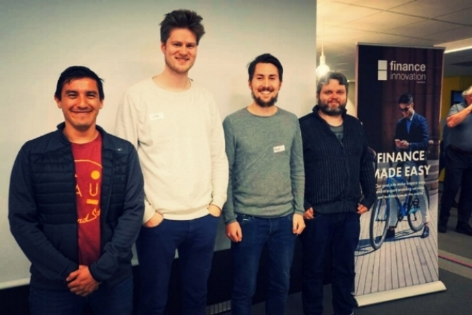 Group 3 with the best prototype during Finance Innovations Hackathon in Bergen. Here reprepresented by Danny Javier Tapiero Luna (Statoil), Sverre Helland (Knowit), Håvard Olsen (Knowit) and Glenn Davanger (Knowit). Photo: Finance Innovation