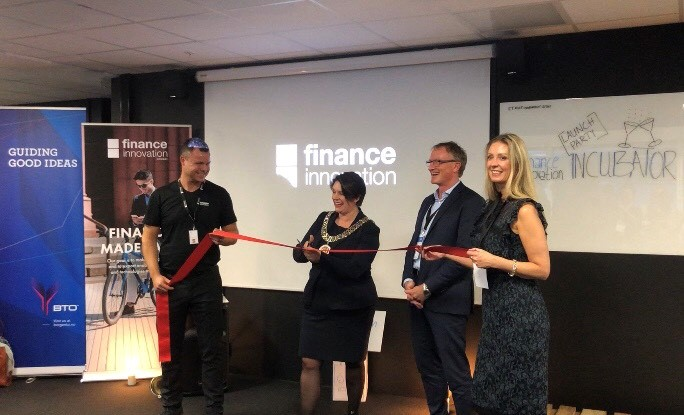 Marte Mjøs Persen (Ap), Mayor of Bergen, opening Fintech Room on the 25th October together with Atle Sivertsen (NCE Finance Innovation), Bård Sandal (Hordaland County Council) and Hilde Indresøvde (BTO). Photo: Rea Parashar