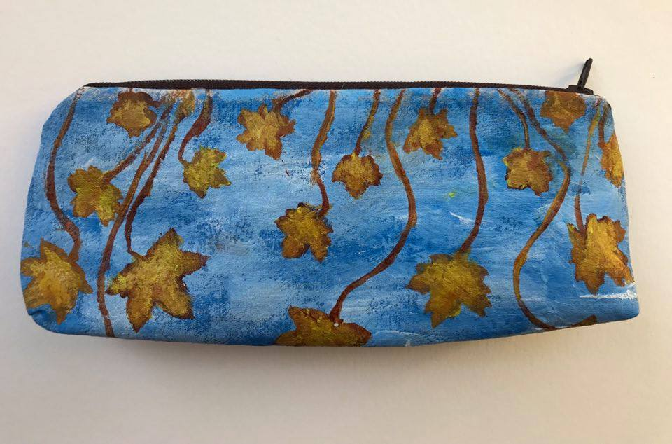 2.Mixed Media handcrafted zippered pouch (front) with autumn theme 31/2 x 7 1/2