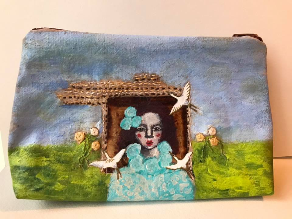 "3. Handcrafted mixedmedia teabag, embroidery,, mixed media zippered pouch. 4 1/2"" x 8"" approx. (front)"