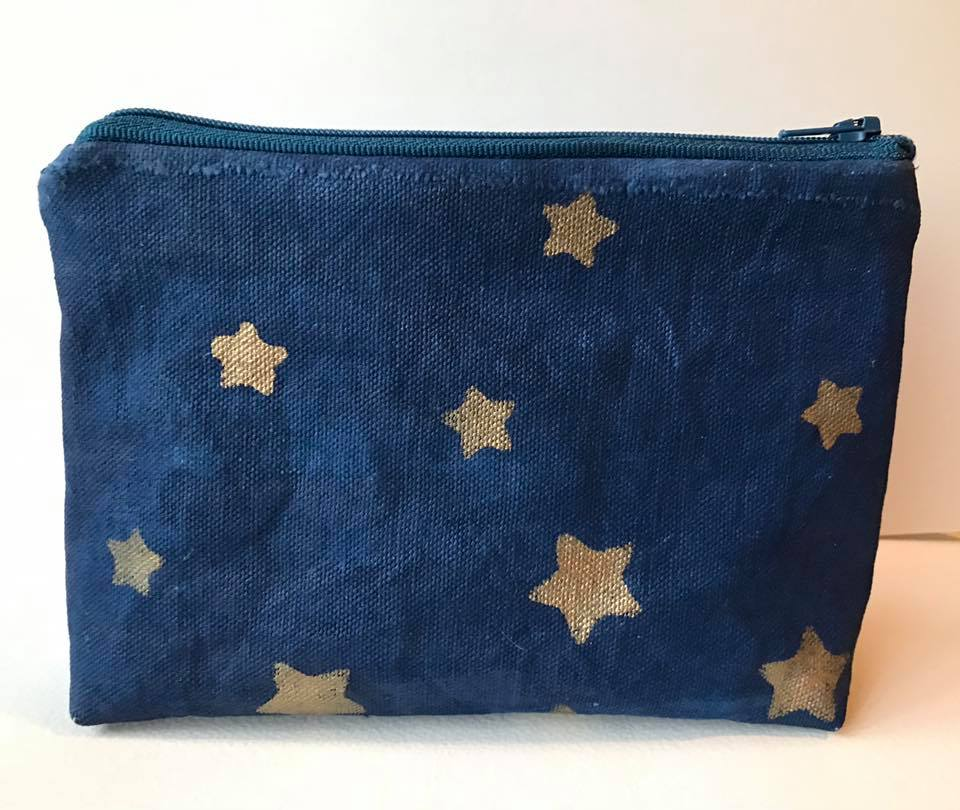 "Handcrafted zippered pouch (back) 4 1/2"" x 8"" approx."