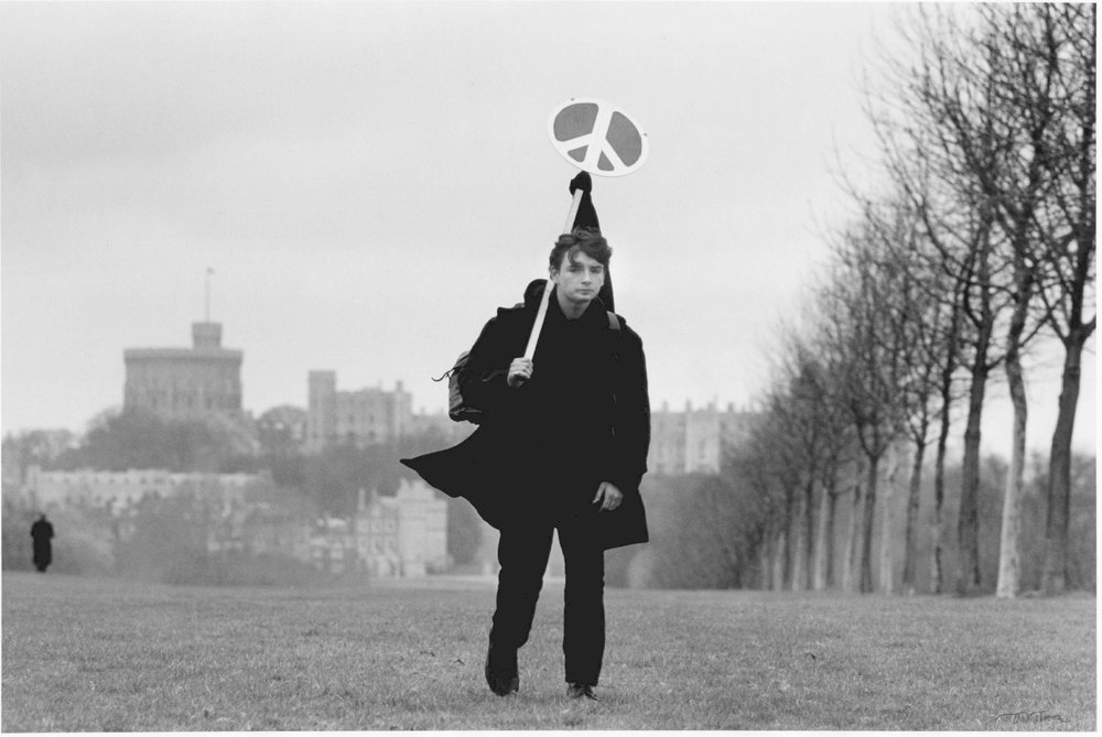 Lone Marcher in Windsor Great after the CND March from Aldermaston to Trafalgar Square, London, 1963