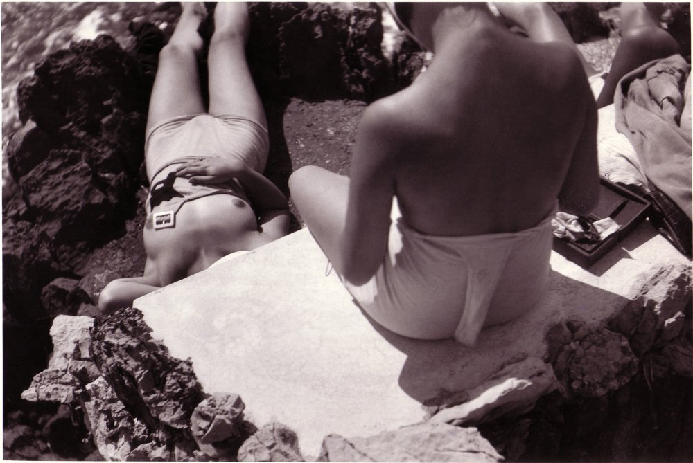 Nane Germon & Andrée Lorrain during the making of the Film 'Les Adventures du Roi Pausole, Cap d'Antibes, August 1932