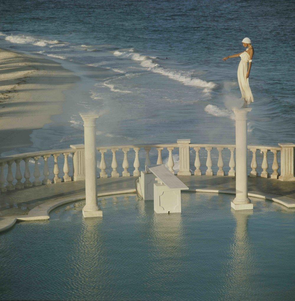 Apollonia van Ravenstein, Crane Beach Hotel, Barbados for Vogue Magazine, 1973