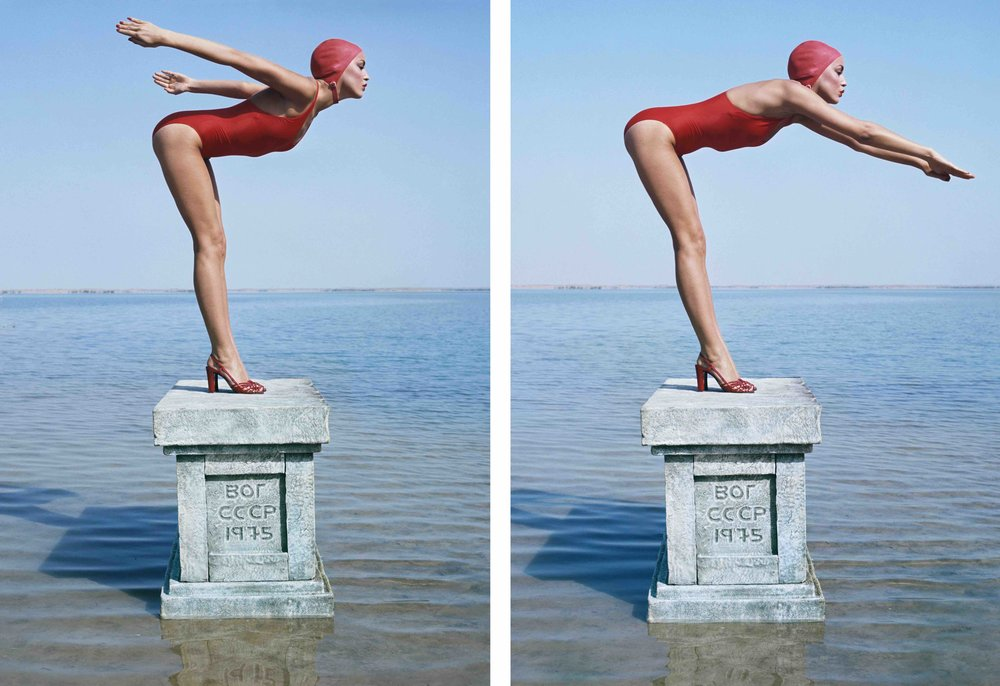 Jerry Hall (Diptych) in Russia for British Vogue Magazine, 1976