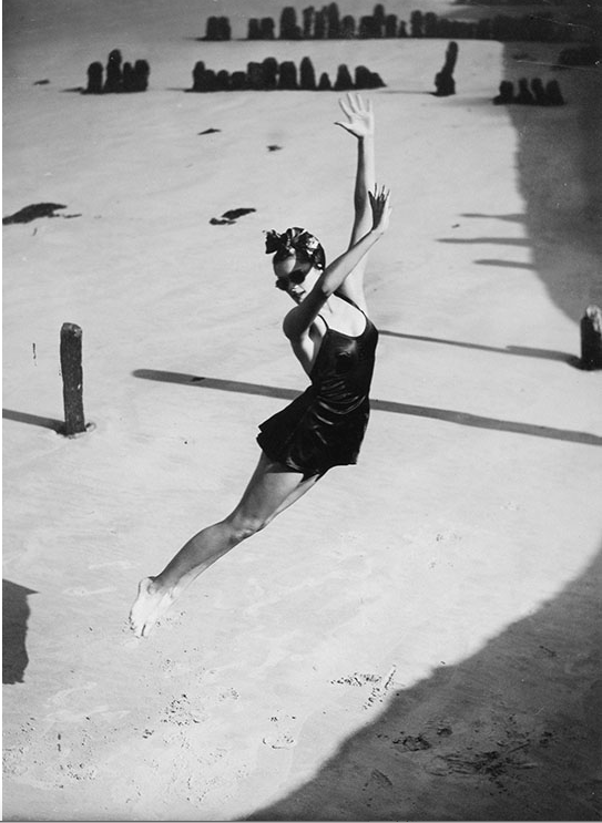 Jump, Pamela Minchin photographed on the Isle of Wight wearing a Fortnum & Mason Bathing Suit, Harper's Bazaar, 1939