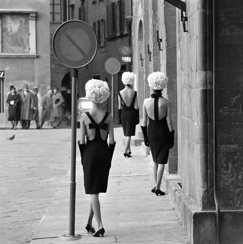 The Italian Collections, Three Little Black Dresses, Fashions by Capucci, Florence for Queen Magazine, 1961
