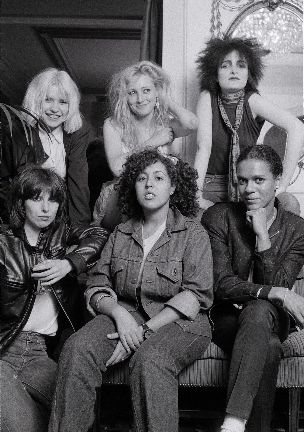 """Ladies Tea Party"" - Debbie Harry, Viv Albertine (The Slits), Siouxsie Sioux, Chrissie Hynde, Poly Styrene (X-Ray Spex), Pauline Black (The Selector), London, 1980"