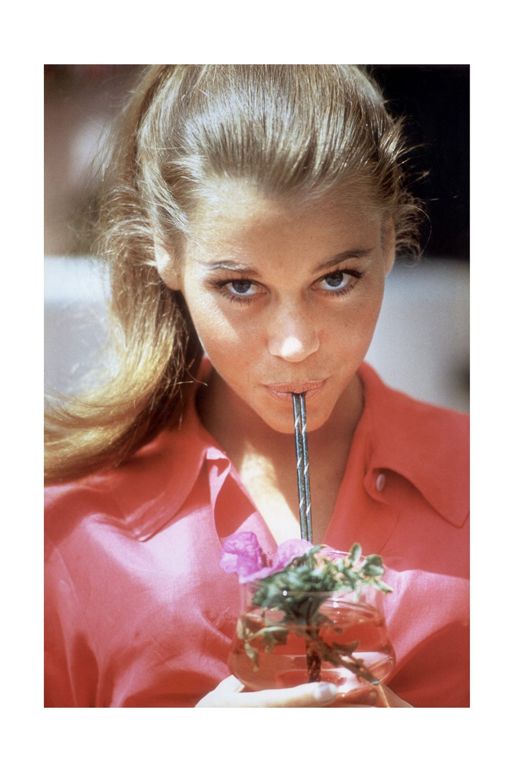 Jane Fonda with straw, Beverly Hills, 1963