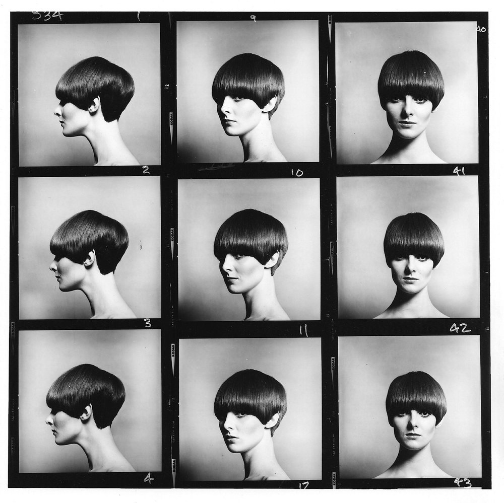 Grace Coddington, Vidal Sassoon Bob, Contact Sheet, c.1966