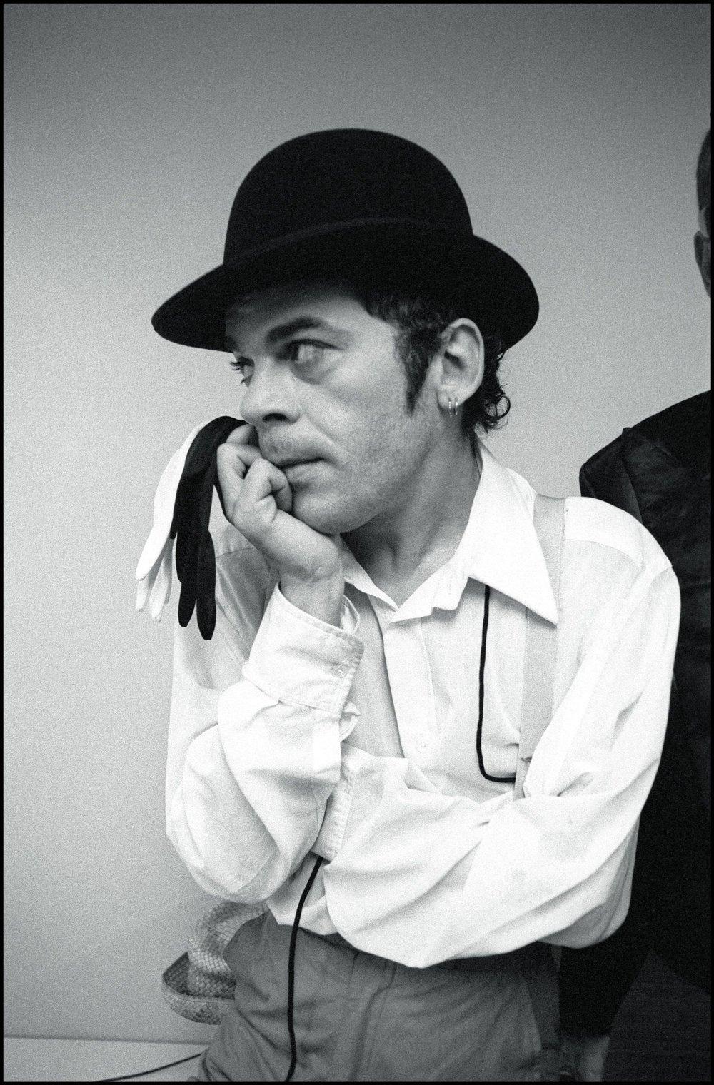 Ian Dury backstage at Brighton Top Rank, Brighton, UK 1980