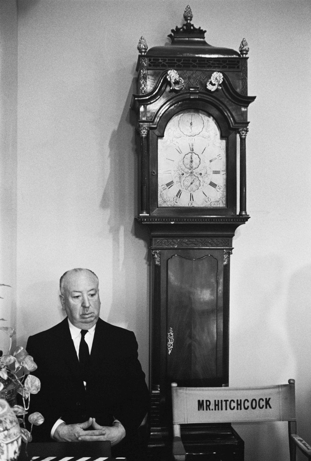 Alfred Hitchcock on the Universal Studios set of Marnie, 1964