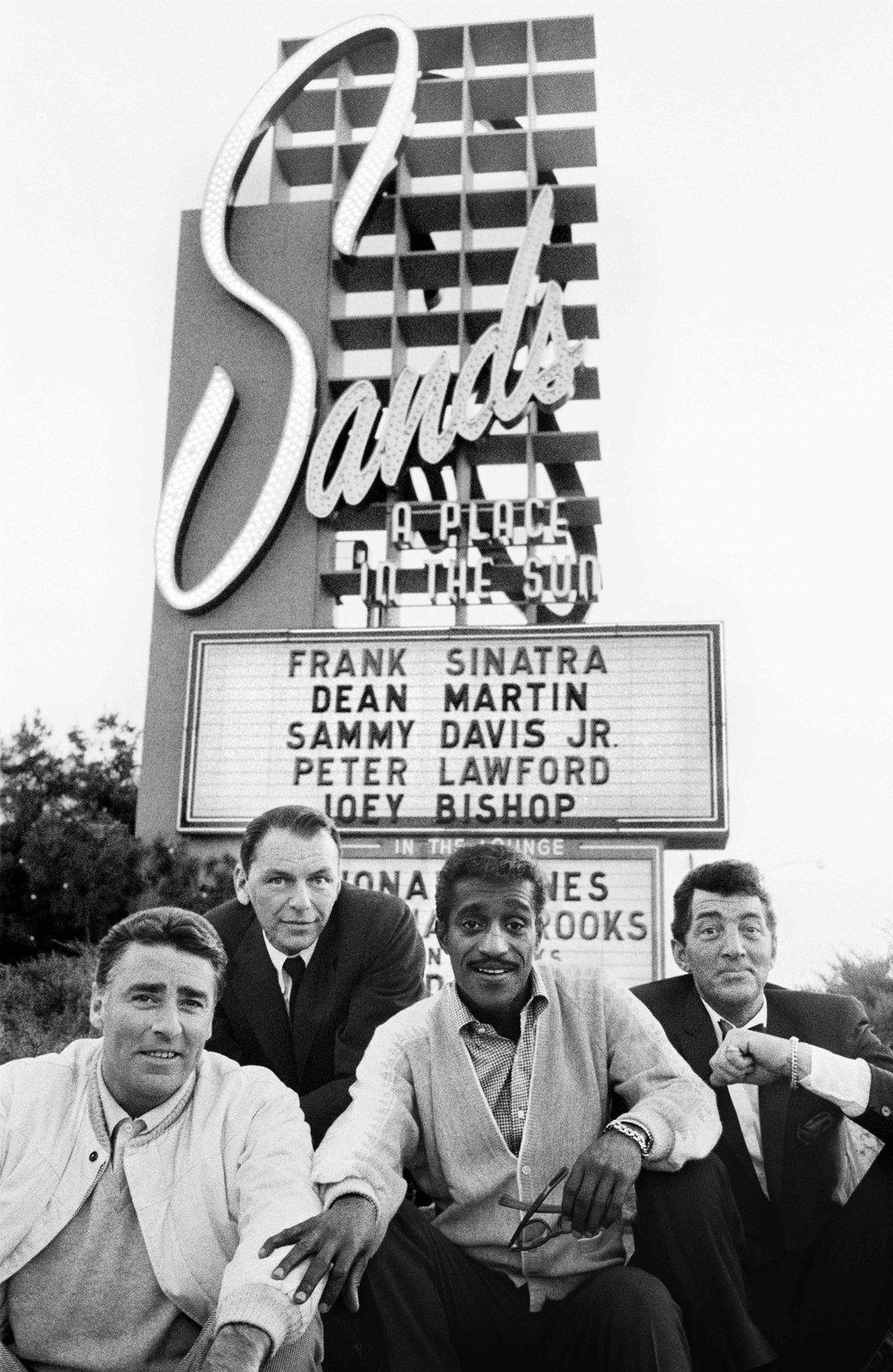 The Rat Pack: Frank Sinatra, Peter Lawford, Sammy Davis Jr., Dean Martin, Sands Hotel whilst filming Ocean's 11, LasVegas, 1960