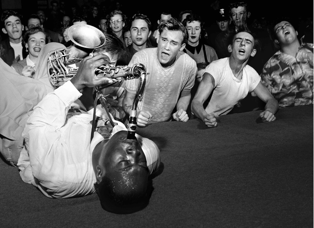 Big Jay McNeely drives the crowd wild at the Olympic Auditorium, downtown LosAngeles, 1951