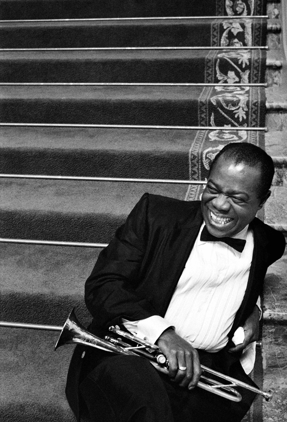 Louis Armstrong relaxing on the set of High Society, 1956