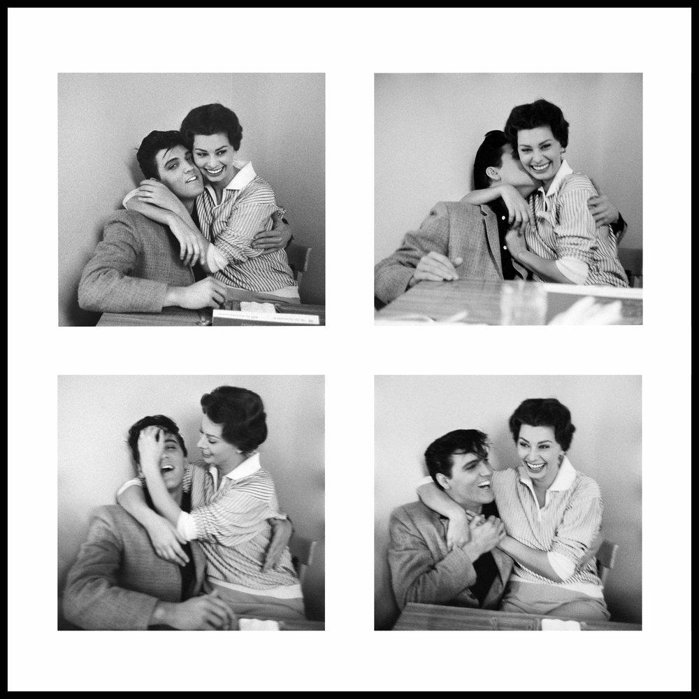 Elvis Presley & Sophia Loren at the Paramount commissary, 1958