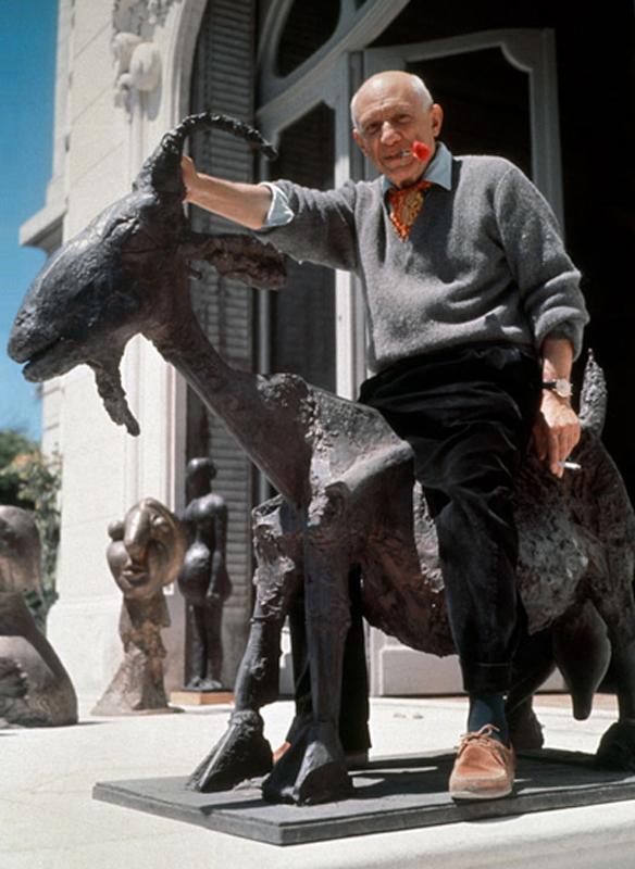 Pablo Picasso with 'Goat Sculpture', Villa La California, Cannes, 1953