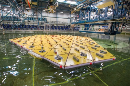 """- As a leading technology developer in the field of wave energy, NEMOS got invited to join the Horizon 2020 funded project """"Space@Sea"""". The consortium consisting of 17 European partners aims to provide sustainable and affordable workspace at sea by developing a standardised and cost efficient modular island with low ecological impact. In this context, NEMOS will contribute by developing technology for using wave energy from the relative motion between the separate modules. Here, enormous forces at relatively small amplitudes require a special designed PTO. NEMOS is looking forward to a fruitful interexchange of know-how within a broad international consortium."""