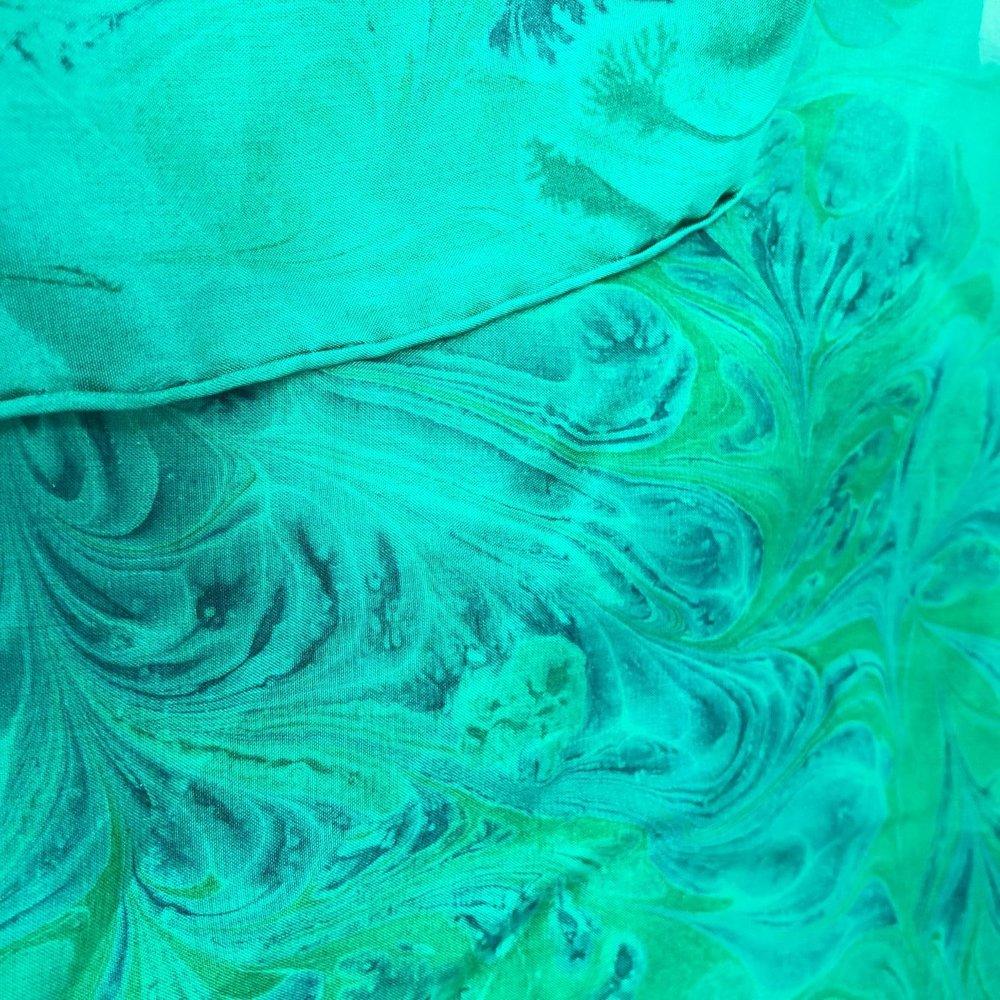 Zohara Silk Scarf - Green - Heart