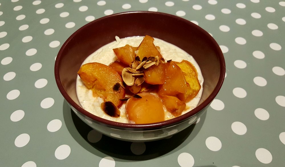 Rice pudding with sticky nectarines!