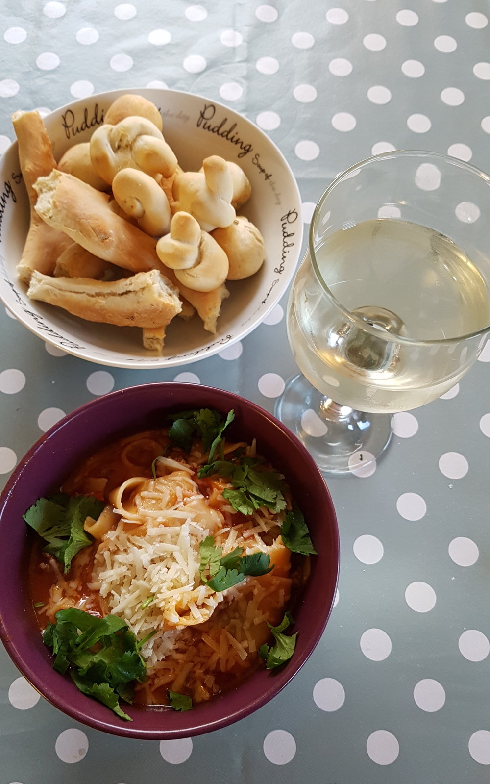 Lasagne Soup with home made fennel mini rolls! Wine fae the Coop….