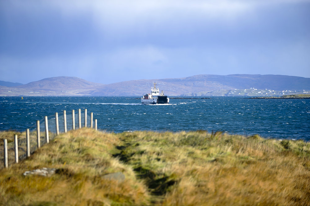 Their ferry arriving at Ardmhor….