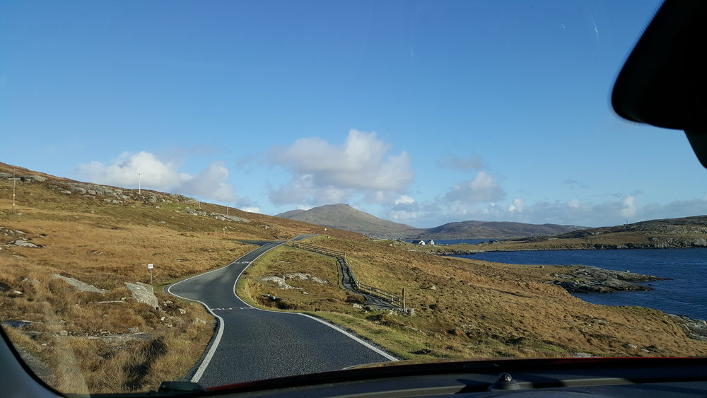 This morning's drive back from Vatersay…not exactly the M8/M77!