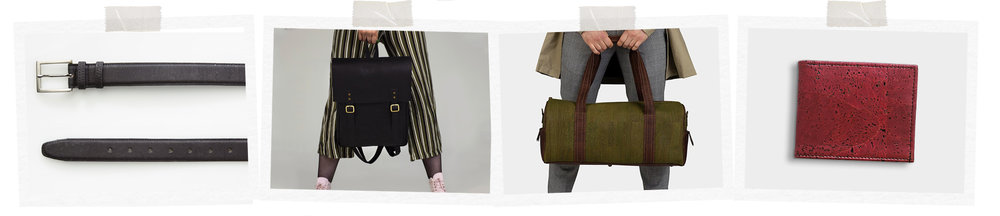 Left-right: Vegan leather belt, €30, everyday backpack, €130, weekender bag, €135, classic wallet, €35, all at foresterproducts.com.