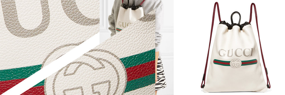 Printed textured-leather backpack by Gucci, €1,290 at  net-a-porter.com .
