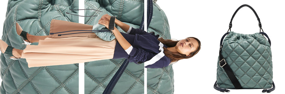 Quilted leather drawcord bag by Sportmax. Price unavailable. More information at  world.sportmax.com .