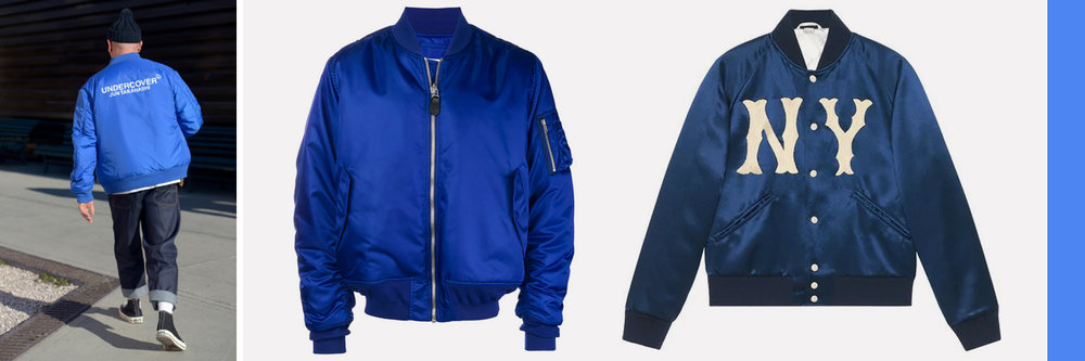 "Mid"": Maison Margiela padded bomber jacket, $1,040 Right: Gucci jacket with Yankees patch, $2,840, available at  Farfetch.com"