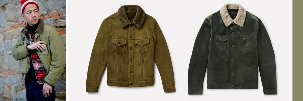 Mid: Valstar Shearling Trucker Jacket, $2,095 Right: Tom Ford Shearling-Trimmed Suede Down Trucker Jacket, $7,290, both available at  Mrporter.com