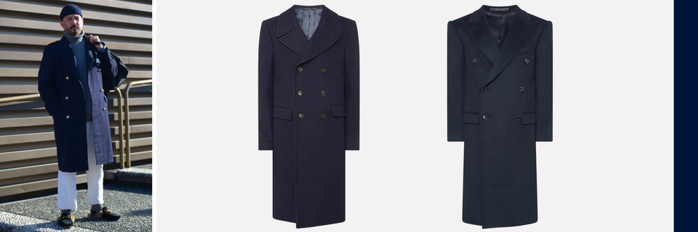 Mid: Crombie Military Style Overcoat, €1,225. Right: Crombie King Overcoat, €1,235, both available at  Brownthomas.com