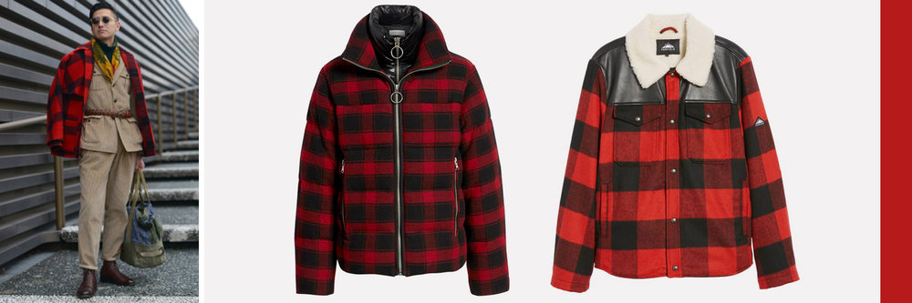 Mid: Crosby Plaid Wool Bib Puffer Jacket, €231 Right: Flatrock Buffalo Check Jacket with Faux Shearling Collar & Lining, €165. Both available at  Nordstrom.com
