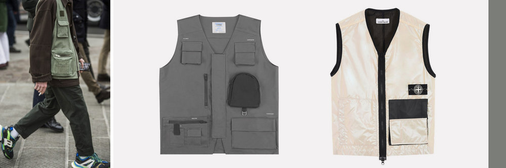 Mid: Chemist C2H4 Utility Vest, €200 Right: Stone Island Iridescent Vest, €399. Both available at  Highsnobiety.com