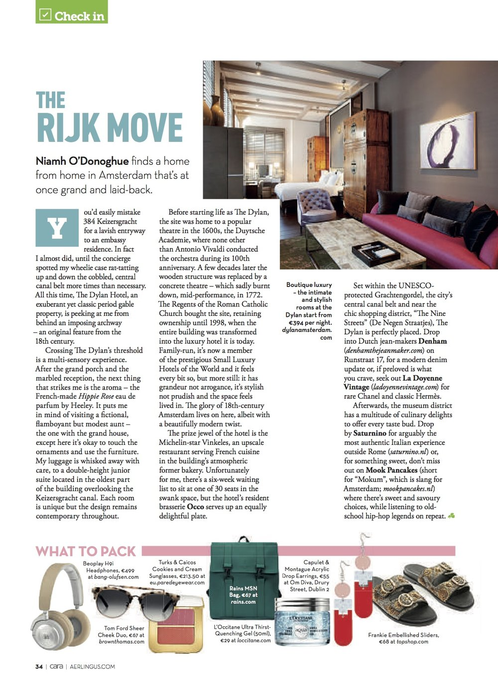 Luxury Amsterdam in the June 2018 issue of CARA in-flight Magazine on Aerlingus