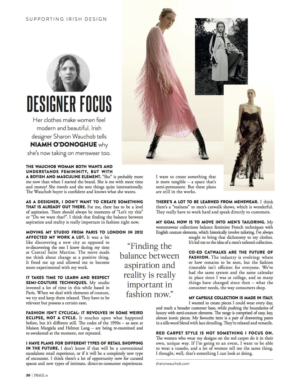 Interview with Sharon Wauchob in the July issue of IMAGE Magazine, 2018