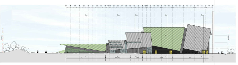 energy from waste facility planning elevation drawing