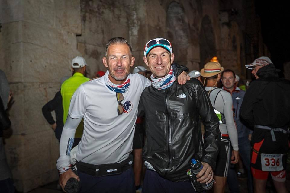 Under the Acropolis with Darren (r). Just 153 miles and a hurricane to go. Pic Chris Mills