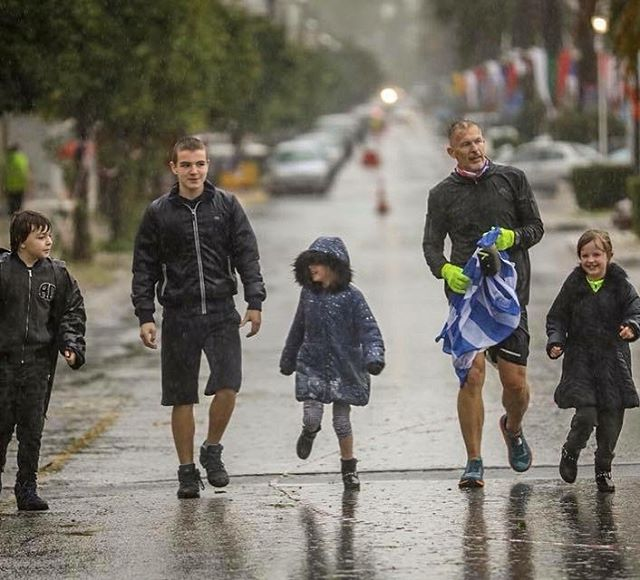 Here's our R&D guy @worldofjames about to finish Spartathlon with his beautiful family in tow in the middle of a hurricane. Read his race report on the Ultra Voices blog over on the site #ultramarathon #pinole