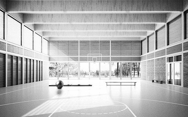 #gym #school #wood #concrete #bern