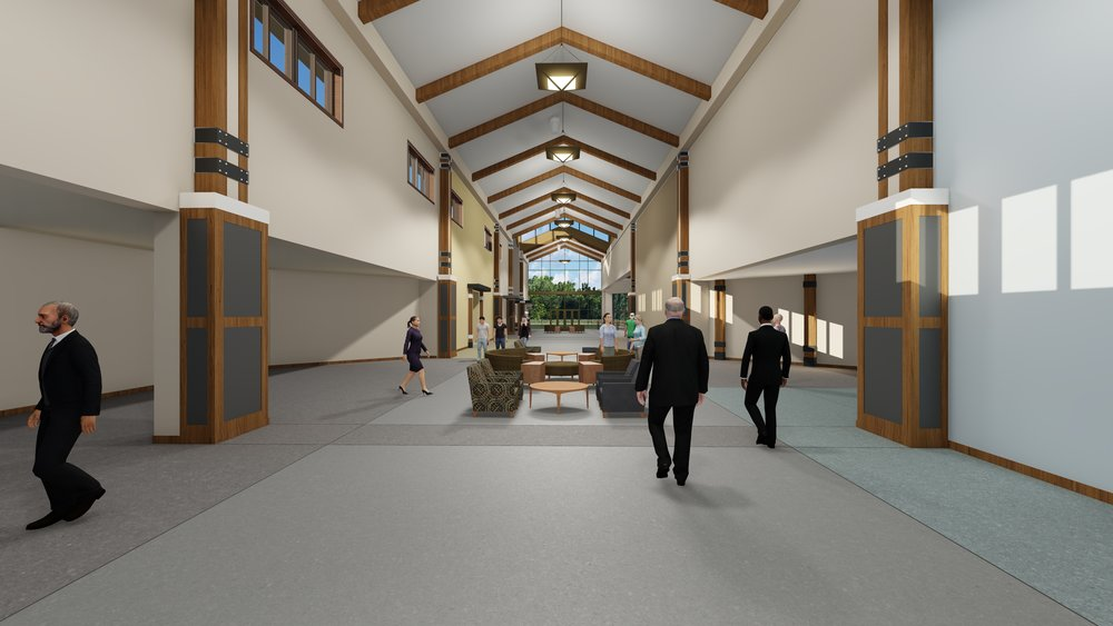 Atrium - The spacious Atrium will allow for comfortable traffic flow, as well as areas for worshipers and Groups to gather in community.