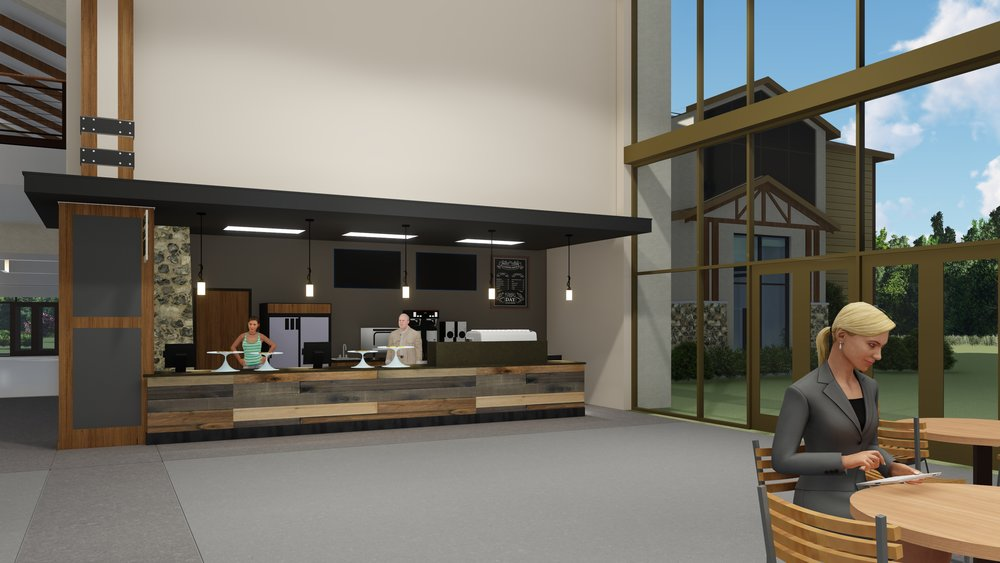 Atrium Café - A café with potential outside patio and pond access will offer a place for all worship venues to converge between services and during the week.
